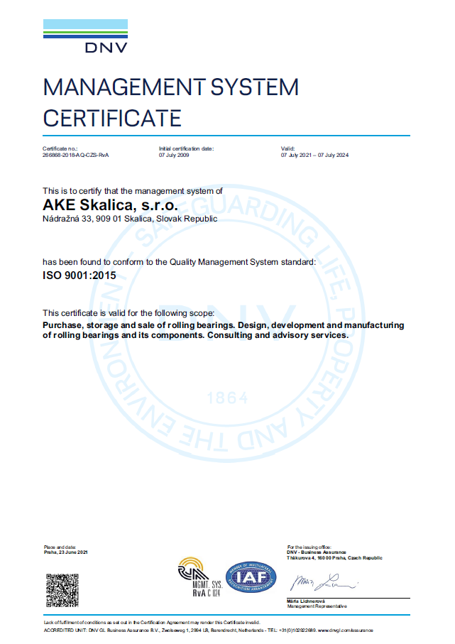 ISO 9001 2015 Management system certificate