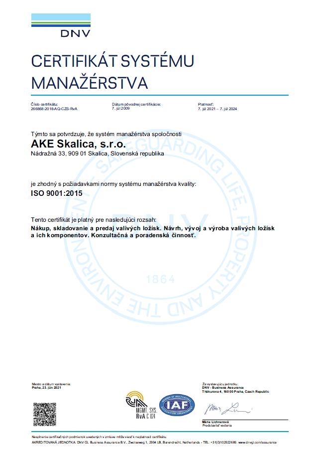 ISO 9001 2015 Certifikát systému manažérstva